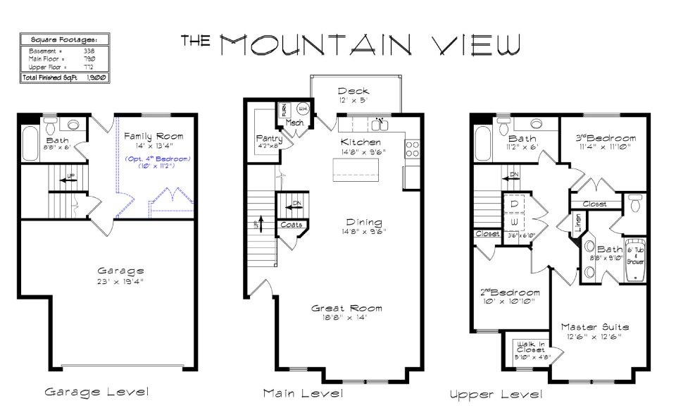 Draper creekside mountain view floorplan for Mountain view floor plans